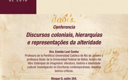 Conferencia Discursos coloniais, hierarquias e representações da alteridade