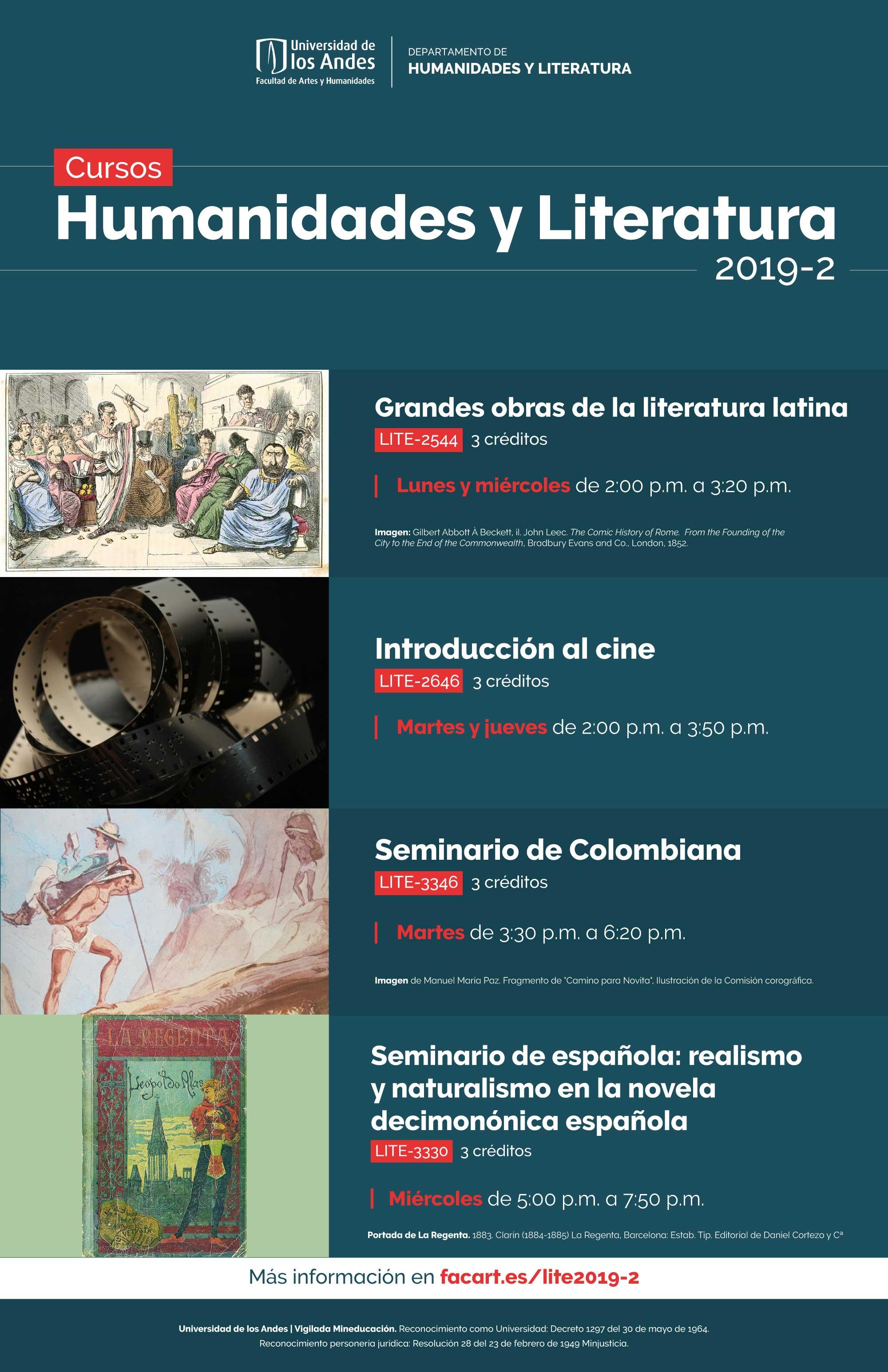 Oferta de cursos en Literatura para el periodo 2019-2