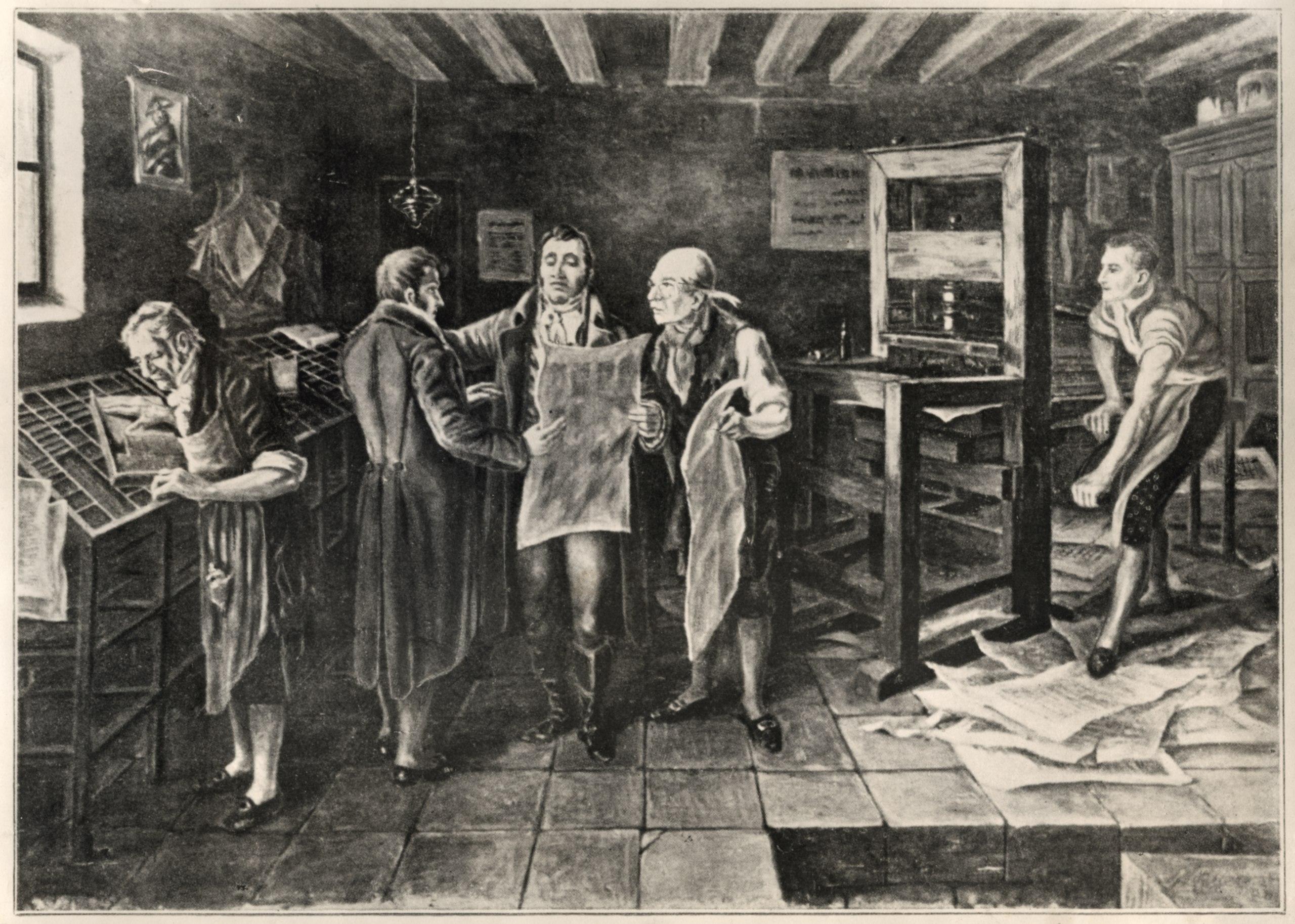 Antonio Nariño y Francisco Antonio Zea en la imprenta. 1920