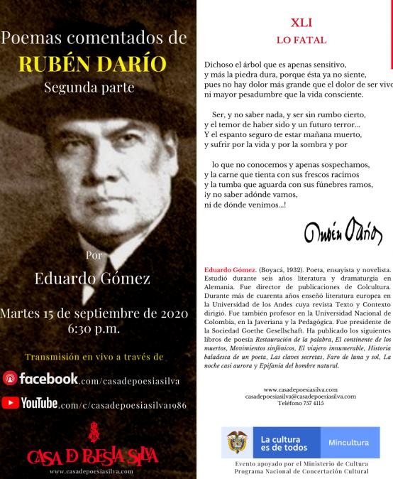 Conferencia: Poemas comentados de Rubén Darío – Segunda parte por Eduardo Gómez.